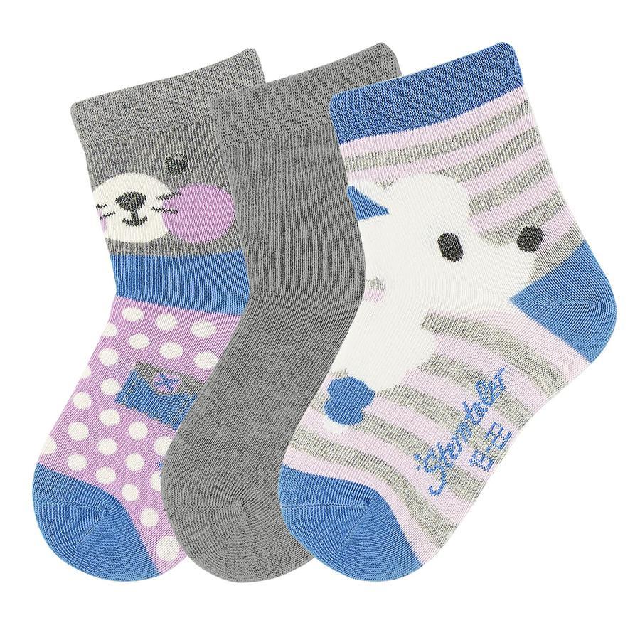 Sterntaler Girls Sokken 3 paar azuurblauw