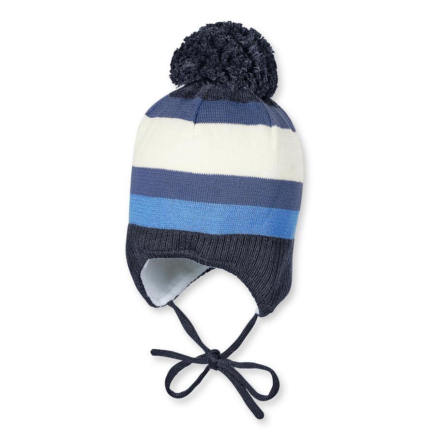 STERNTALER Bonnet tricoté, Garçon, rayures, bleu marine