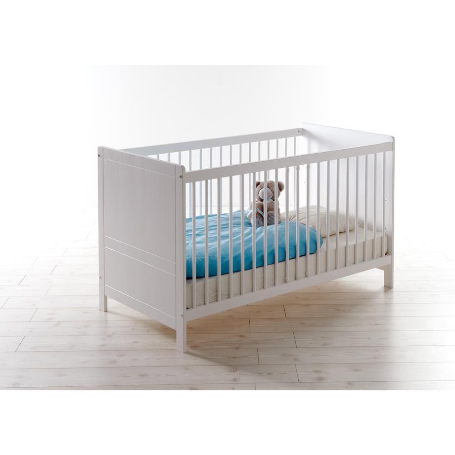 TiCAA Baby-Gitterbett Moritz Kiefer massiv weiß