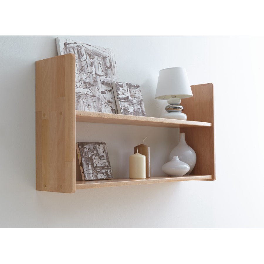 Ticaa Tag Re Murale H Tre Laqu E Nature 2 Plateaux Large  # Etagere Murale Pin Laque