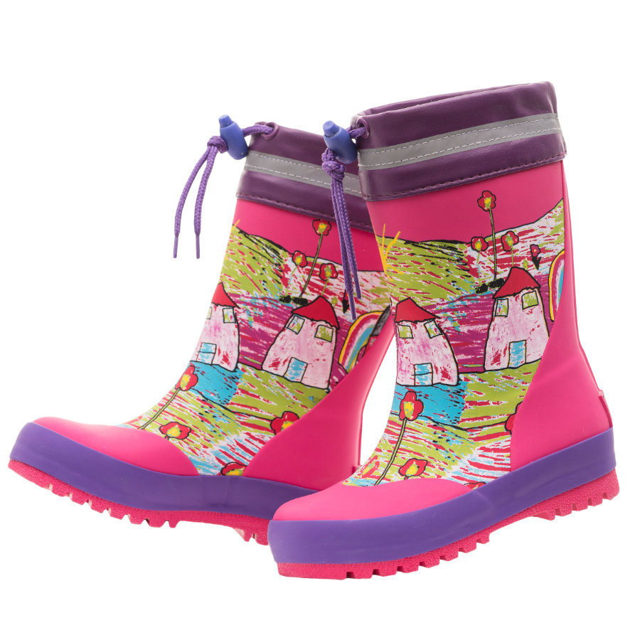 maximo Girls Gummistiefel Houses sangria/multicolor
