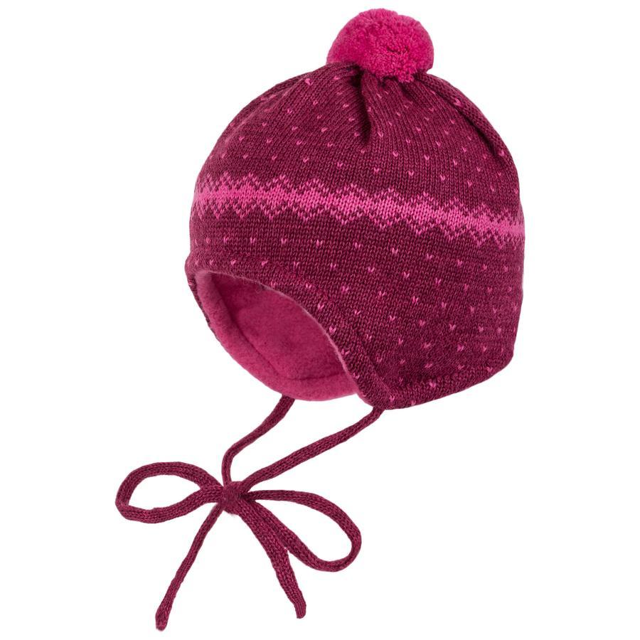 maximo Girls Mütze mit Pünktchen rot/pink