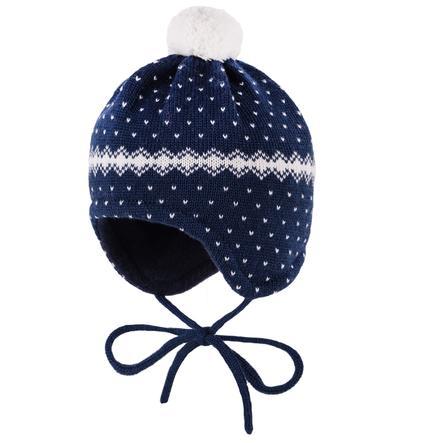 maximo Girl cappuccio con puntini blu navy/bianco