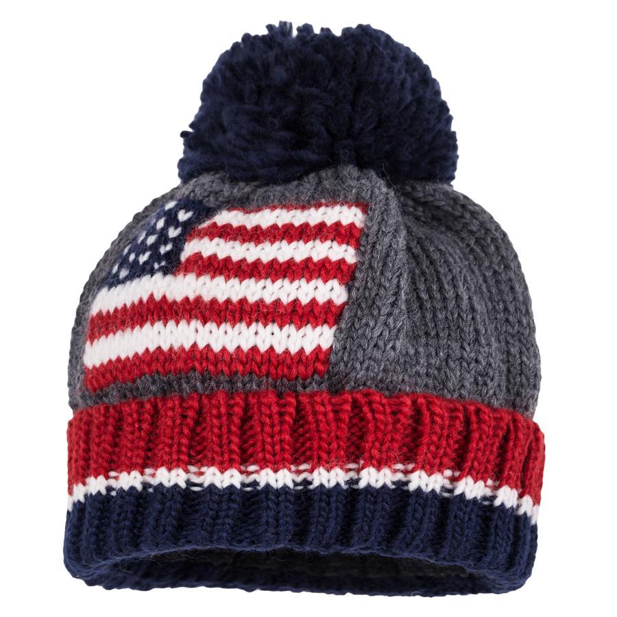maximo Bommelmütze Amerika-Flagge grau/blau
