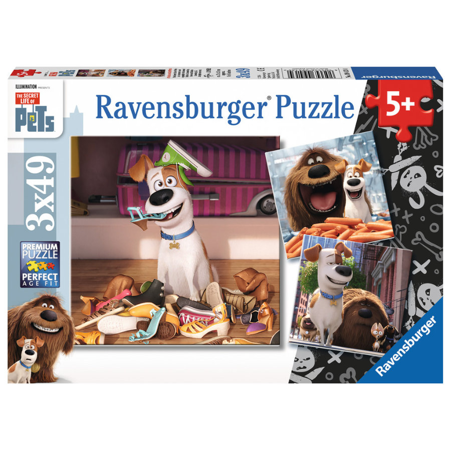 Ravensburger Puzzle 3x49 - The Secret life of Pets: Zabawa w domu