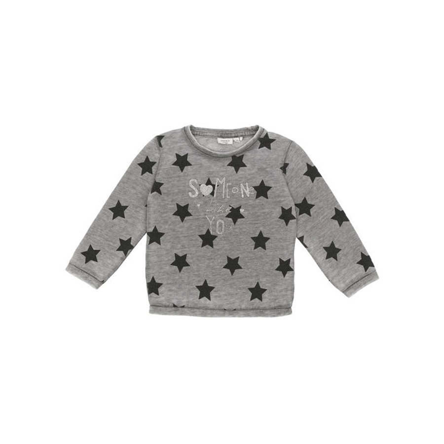 NAME IT Girls Mini Bluzka z długim rękawem Lami dark grey melange