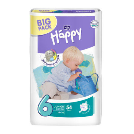 BELLA Happy Junior Extra Size 6 Nappies (16+ kg) Pack of 54