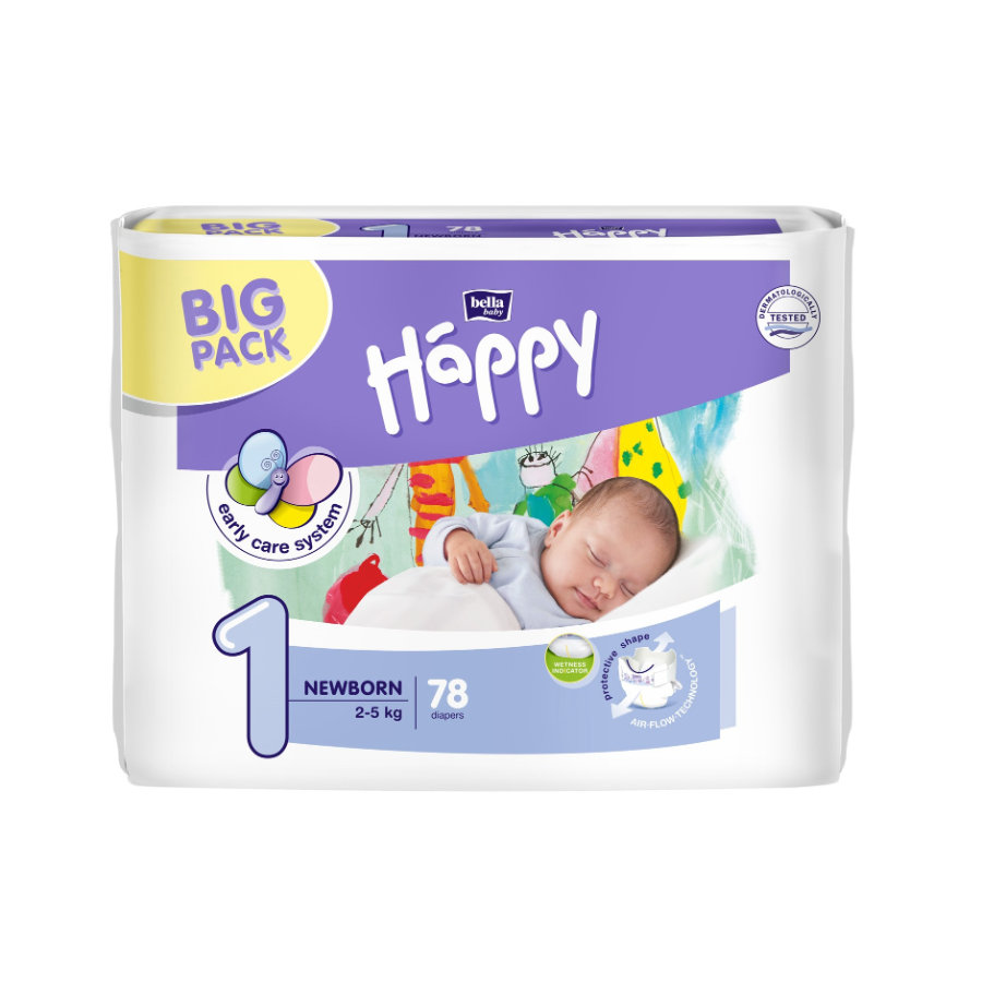 bella baby Happy Plenky Newborn s indikátorem moči vel. 1 (2-5 kg) Big Pack 78 ks