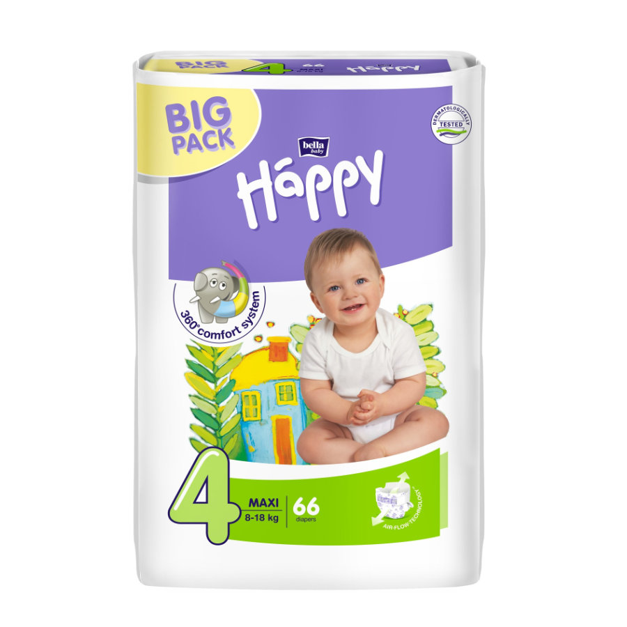 bella baby Happy Plenky Maxi vel. 4 (8-18 kg) Big Pack 66 ks
