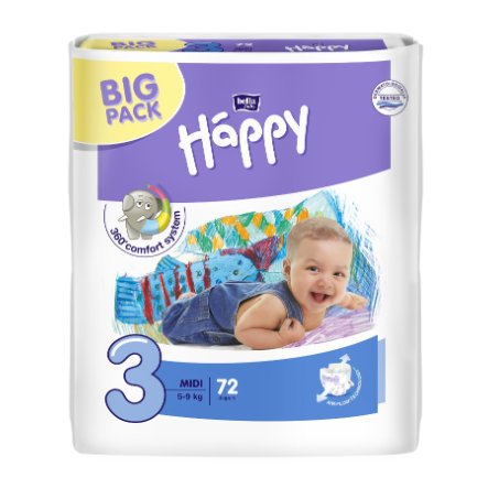 BELLA Happy Couches Midi T. 3 (5-9 kg) Big Pack, 72 pièces