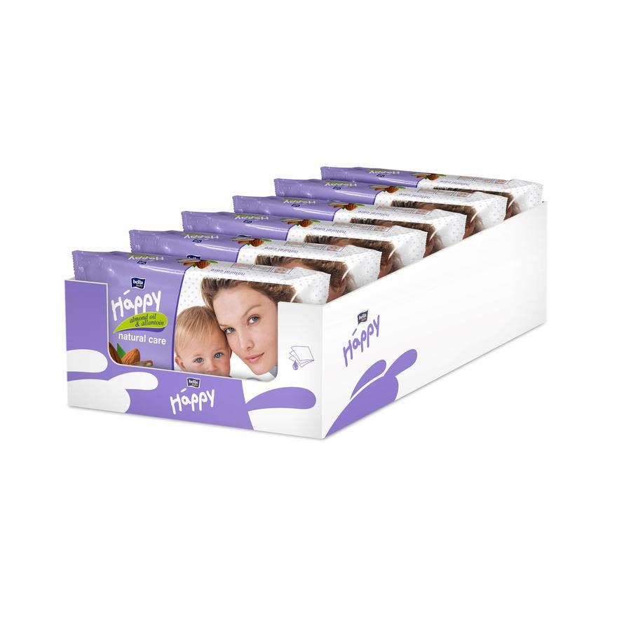 BELLA Happy Vlhčené ubrousky Natural Care s mandlovým olejem 6 x 56 ks