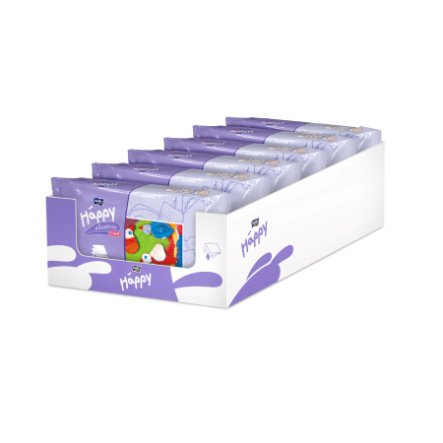 BELLA Happy Lingettes lotion et vitamine E 6 x 64 pcs