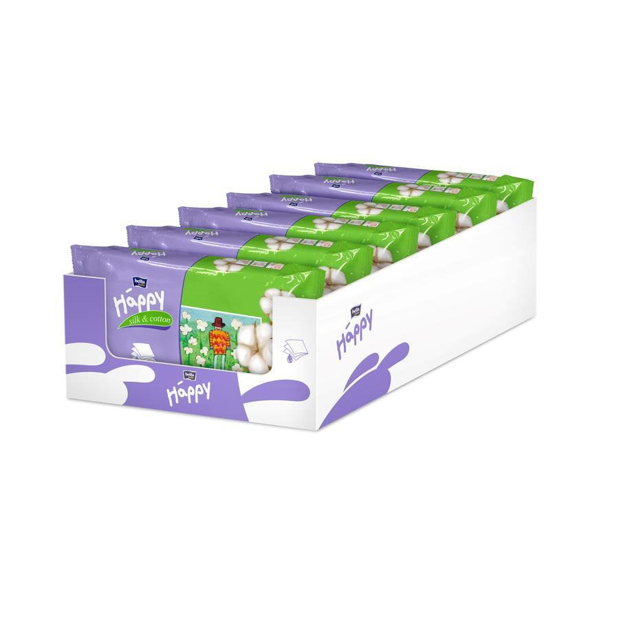 BELLA Happy Lingettes soie et coton 6 x 64 pcs