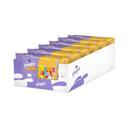 BELLA Happy Lingettes lait et miel 6 x 64 pcs