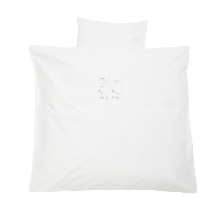 Alvi Bettwäsche 80 x 80 cm, Stickerei Hello Baby weiß