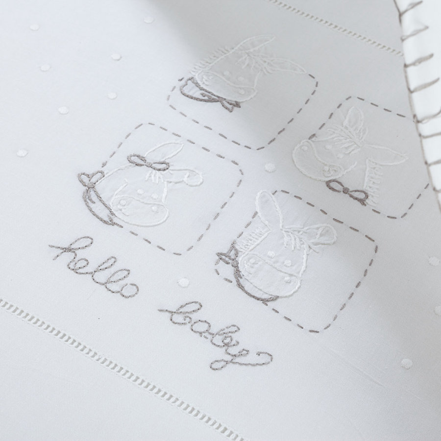 ALVI Embroidered Sheets Hello Baby white 80 x 80 cm