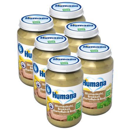 Humana Menü Blumenkohl Brokkoli Kartoffeln und Rind 6 x 190 g