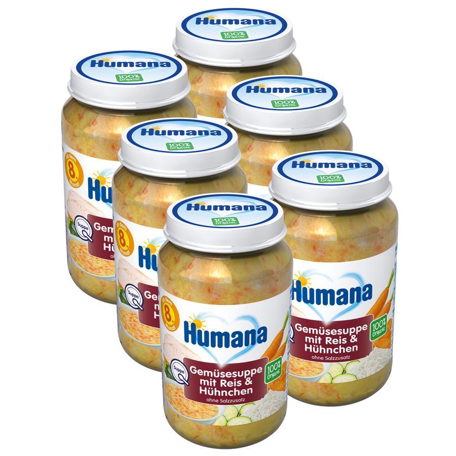 Humana Gemüsesuppe mit Reis und Hühnchen 6 x 170 ml