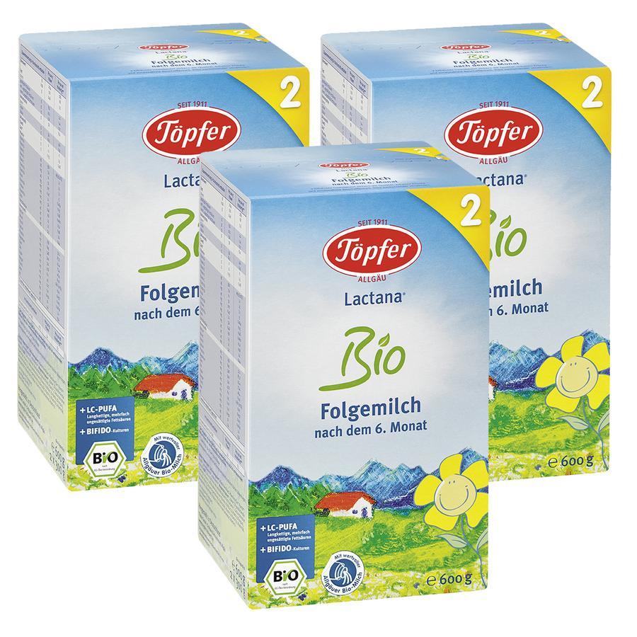 Töpfer Lactana Bio 2 Folgemilch 3 x 600 g