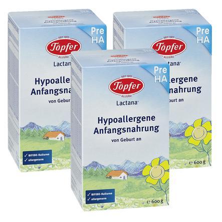 TÖPFER Lactana Pre Hypoallergenic Infant Formula 3x600g