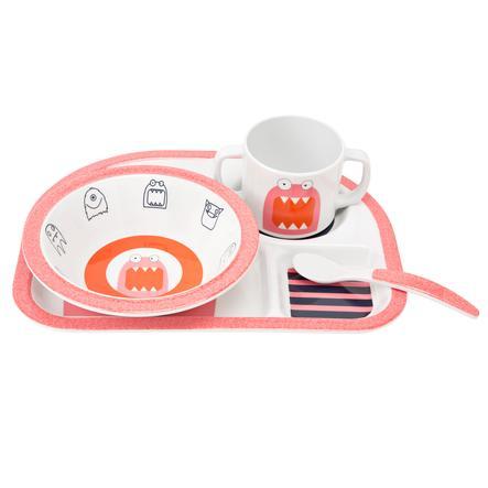 LÄSSIG Ess Set mit Silikonring 4-tlg. Little Monsters Mad Mabel pink