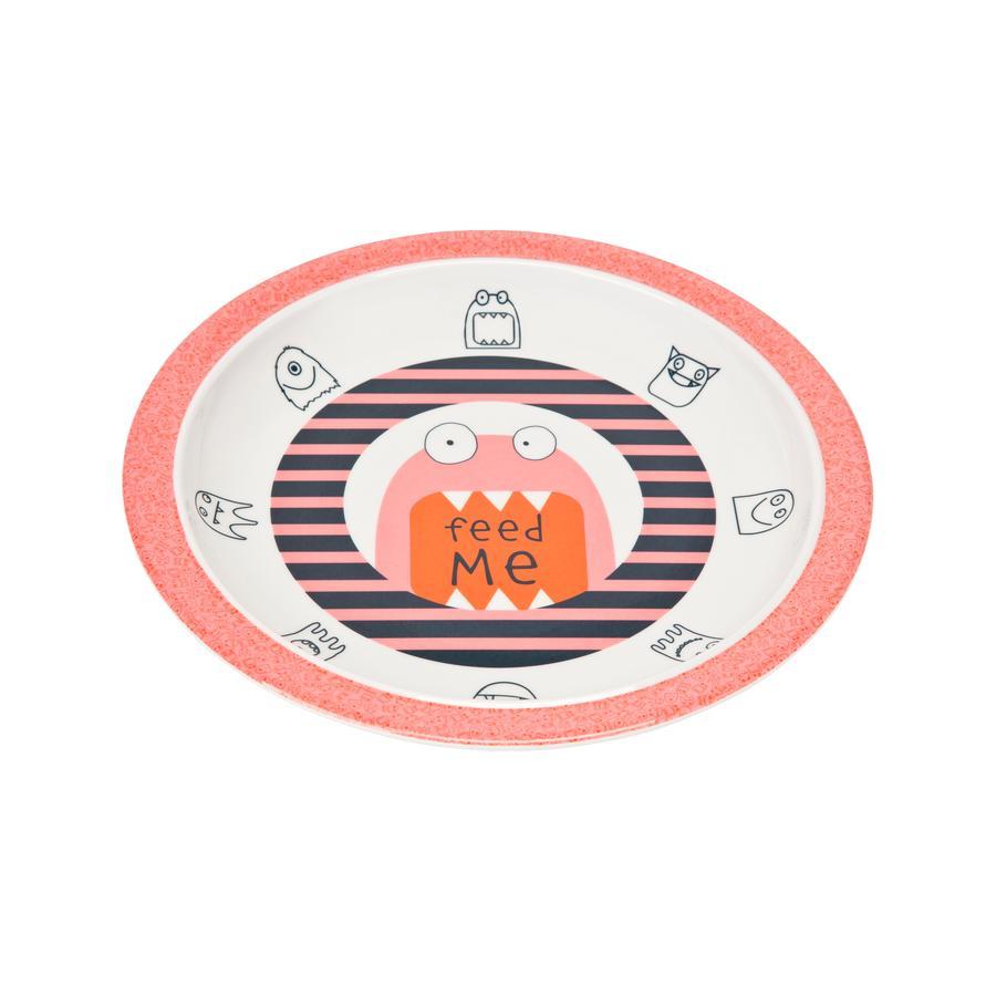 LÄSSIG Melamin Tallrik med silikonkant, Little Monsters Mad Mabel pink