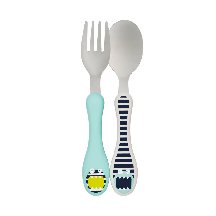 LÄSSIG Melamine RVS Bestek Little Monsters Bouncing Bob blauw