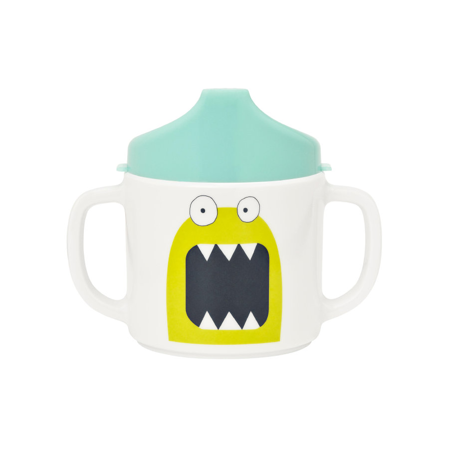 LÄSSIG Tasse mélamine, bordure silicone, Little Monsters Bouncing Bob, bleu