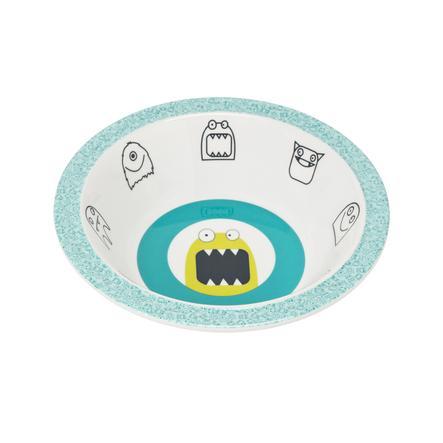 LÄSSIG Schüssel Little Monsters Bouncing blau Melamin mit Silikonrand