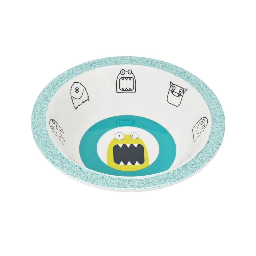 LÄSSIG Melamine Kom met siliconerand Little Monsters Bouncing blauw