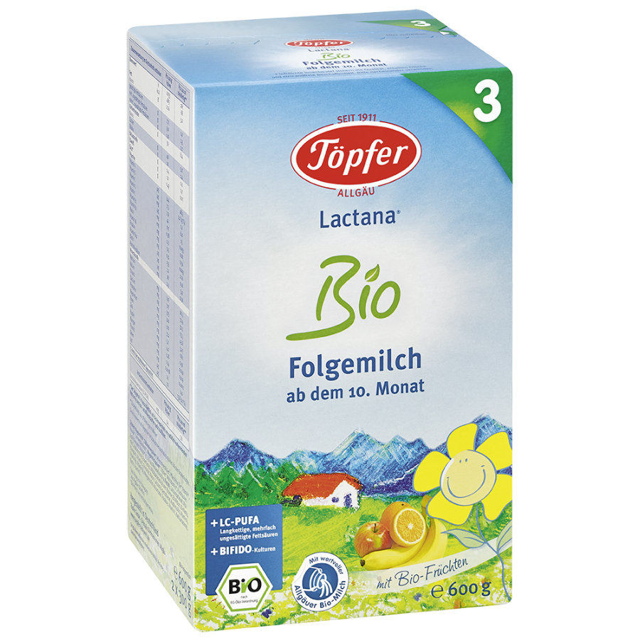 TÖPFER Lactana Organic 3 Follow-On Formula 600g