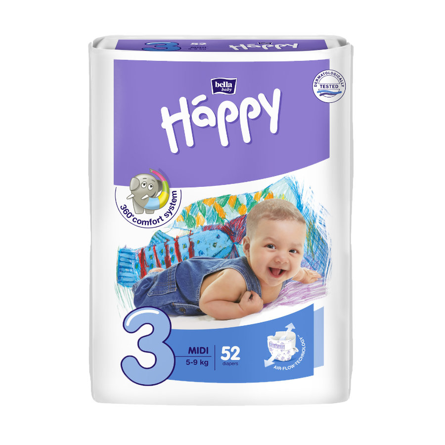 bella baby Happy Plenky Midi vel. 3 (5-9 kg) 52 ks