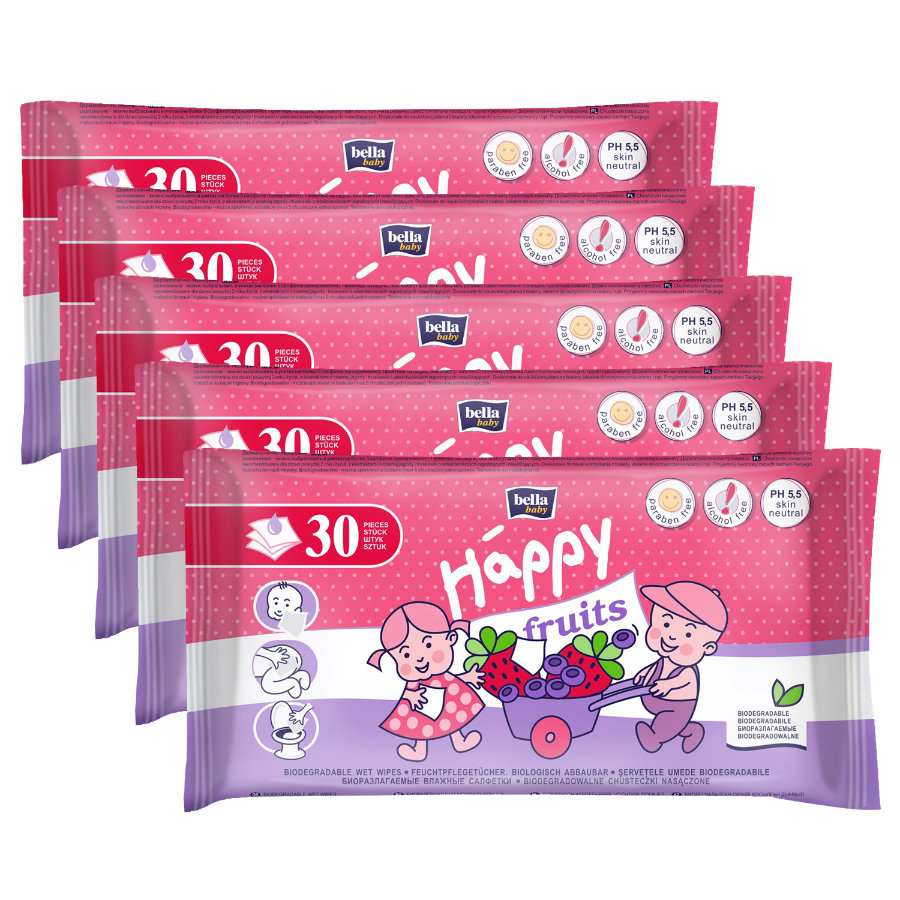 bella baby Happy Toilettentücher für Kinder Erdbeere & Heidelbeere, 5 x 30 Stück
