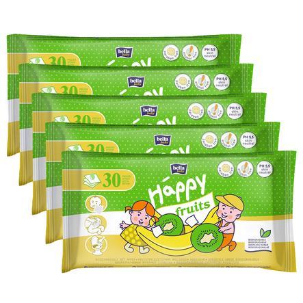 BELLA Happy Lingettes enfants, kiwi et banane, 5 x 30 pièces
