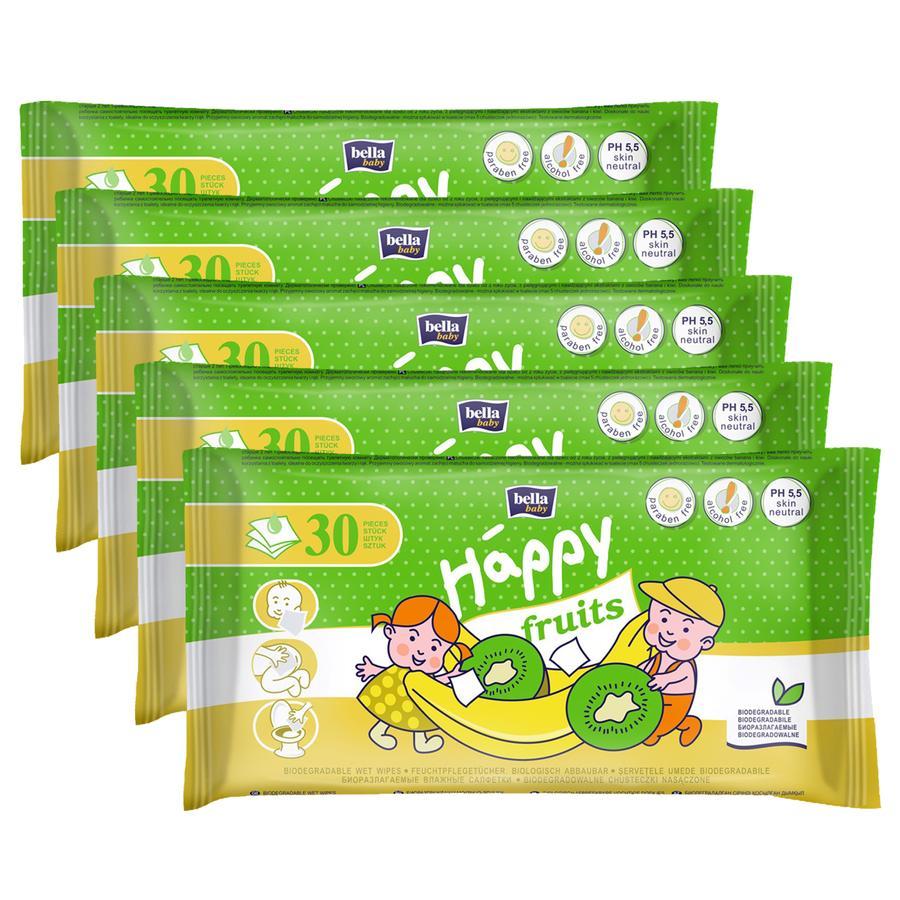 bella baby Happy Toaletní ubrousky pro děti kiwi a banán, 5 x 30 ks