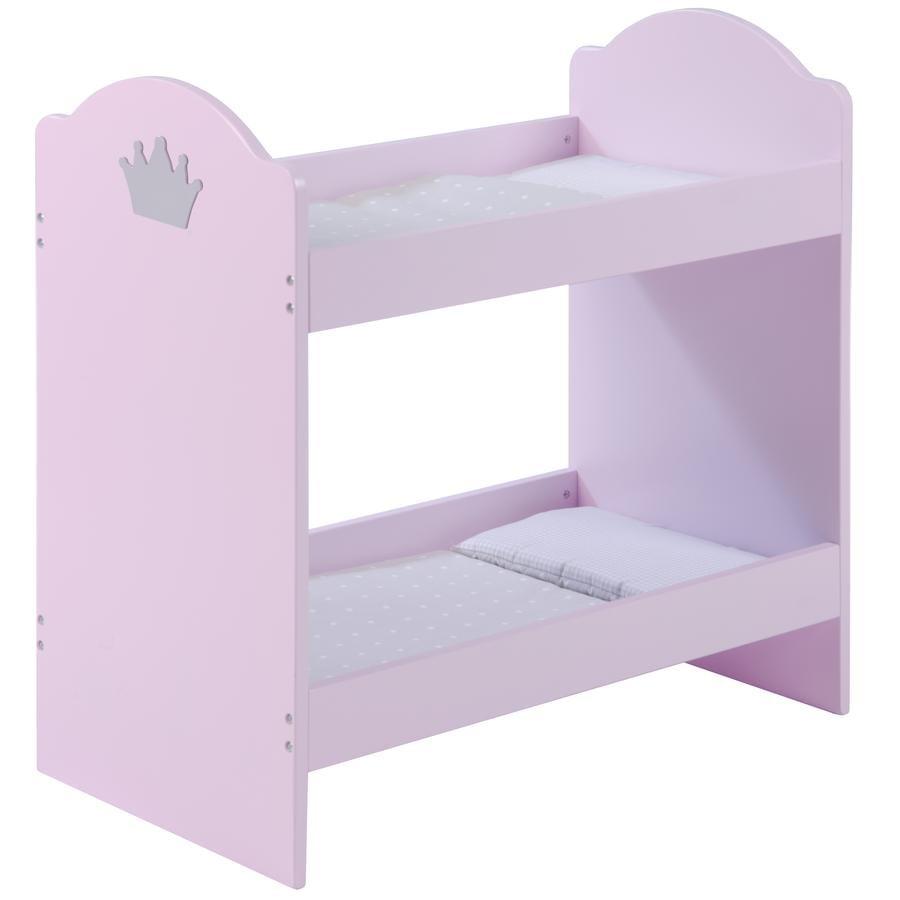roba Dvouposchoďová postel pro panenky, růžově nalakovaná