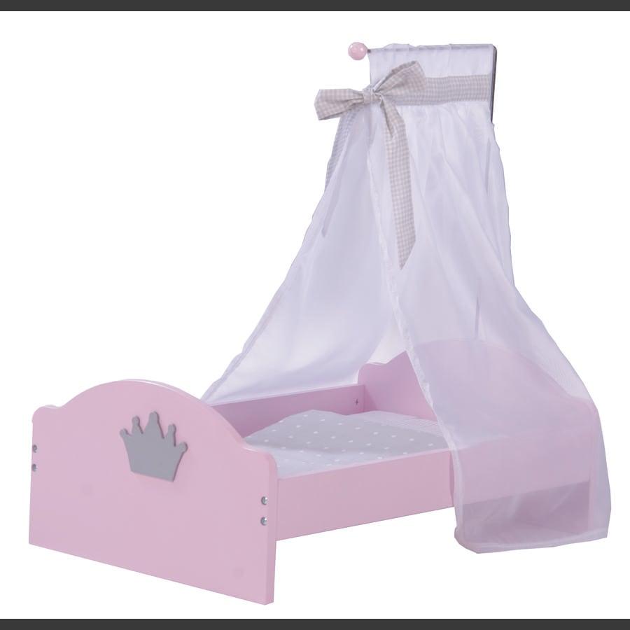 ROBA Postýlka pro panenky, růžově nalakovaná