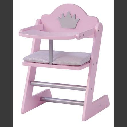 roba Jídelní židlička pro panenky, růžově nalakovaná