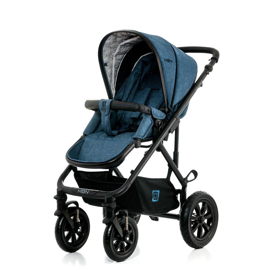 MOON Combi-Kinderwagen Nuova Set City blue melange