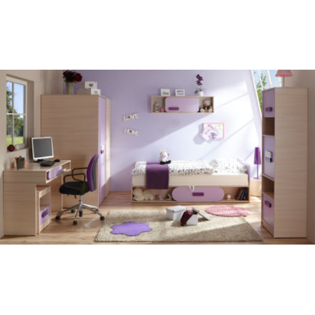 TiCAA Jugendzimmer Globus 6-teilig Eiche-Creme-lila