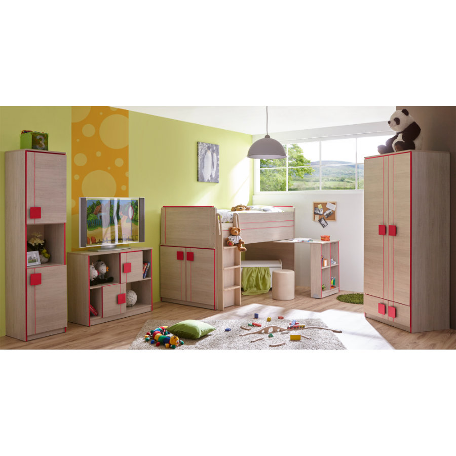 ticaa kinderzimmer camo 4 teilig rot. Black Bedroom Furniture Sets. Home Design Ideas