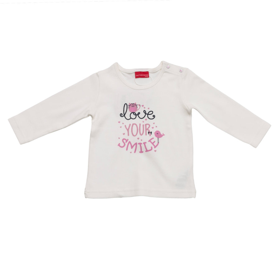 SALT AND PEPPER Baby Glück Girls Longsleeve Love print weiß