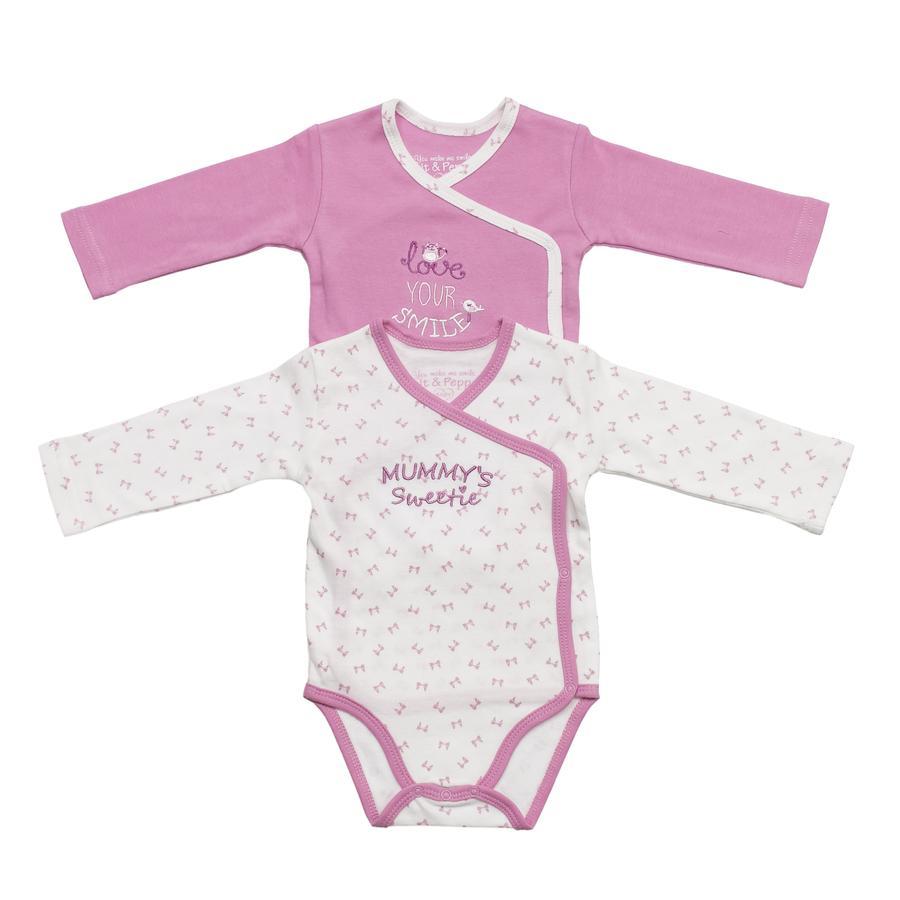 SALT AND PEPPER Baby Glück Girls Bodies 2-er Pack weiß/rosé