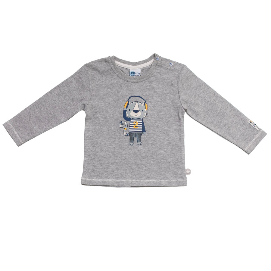 SALT AND PEPPER Baby Glück Boys Longsleeve Tiger print grey melange