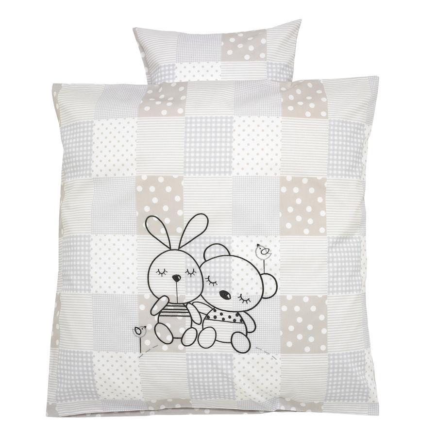Alvi® Parure de lit enfant Rabbit gris sable, 80x80 cm