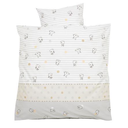 Alvi Ropa de cama 80 x 80 cm Osito a rayas beige