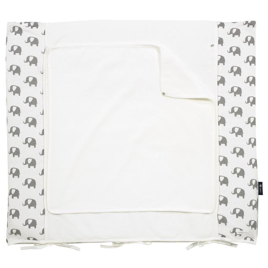 ALVI Matelas à langer Wiko, housse Bellybutton, Édition spéciale, Éléphants, blanc, 70 x 85 cm