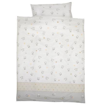 Alvi Bettwäsche Streifenbär 100 x 135 cm beige