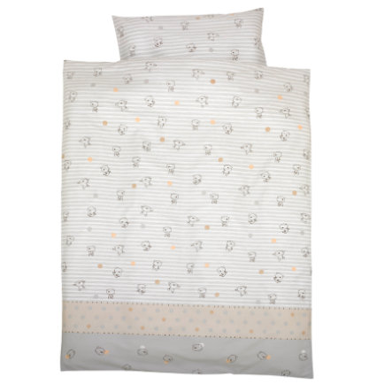 Alvi® Parure de lit enfant Ours rayures beige 100x135 cm