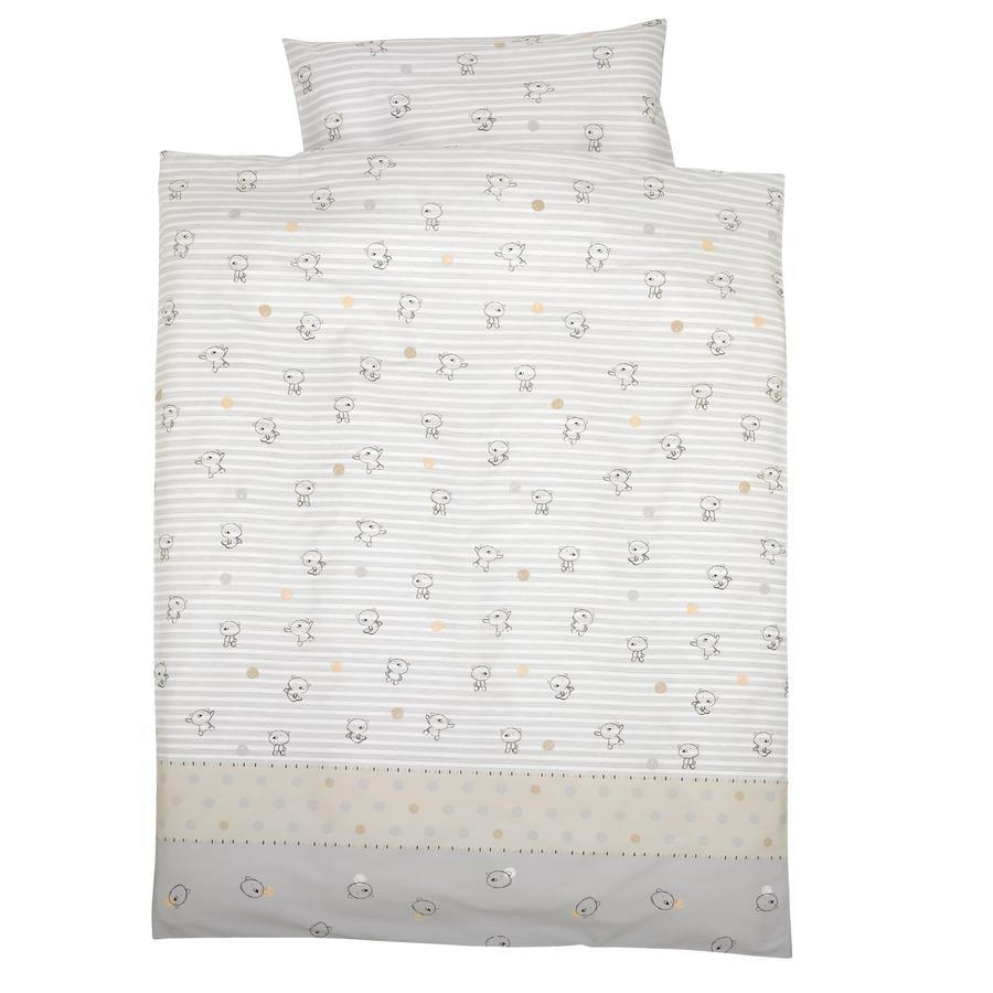 Alvi Ropa de cama osito con rayas 100 x 135 cm beige - rosaoazul.es